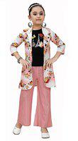 Arshia Fashions Girls Top and Palazzo Set with Coat Peach