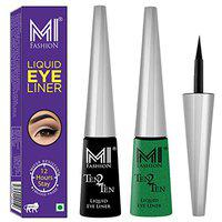 MI Fashion Quick Dry Liquid Eyeliners Combo of 2 Pcs Water Resistent Cruelty Free High Shine Long Stay - Black, Shimmer Green