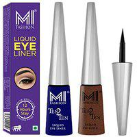MI Fashion Quick Dry Liquid Eyeliners Combo of 2 Pcs Water Resistant Cruelty Free High Shine Long Stay - Navy Blue, Shimmer Brown