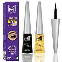 MI Fashion Quick Dry Liquid Eyeliners Combo of 2 Pcs Water Resistent Cruelty Free High Shine Long Stay - Black, Shimmer Golden
