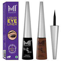 MI Fashion Quick Dry Liquid Eyeliners Combo of 2 Pcs Water Resistant Cruelty Free High Shine Long Stay - Black, Shimmer Brown