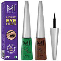 MI Fashion Quick Dry Liquid Eyeliners Combo of 2 Pcs Water Resistant Cruelty Free High Shine Long Stay - Shimmer Green, Shimmer Brown