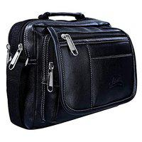 Leather World Unisex Leatherette Black Sling Bags Messenger Bags Cross Body Bags for Daily Use