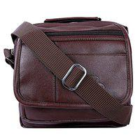 Leather World Unisex Leatherette Brown Sling Bags Messenger Bags Cross Body Bags for Daily Use