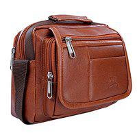 Leather World Unisex Leatherette Tan Sling Bags Messenger Bags Cross Body Bags for Daily Use
