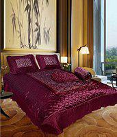 Jaipurwala Stain BeddingSet 4 : Pcs Silk Beddingset 1 Double Bed Bedsheet :: 2 Pillow Cover:: 1 Double Bed AC Comforter