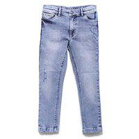 UFO Denim Jeans for Boys Kids, 97% Cotton & 3% Spandex Material Jeans for Boys Kids, Slim Fit, Blue, 4-5 Years