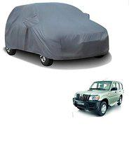 Kozdiko Grey Matty Car Body Cover with Mirror Pockets, Buckle Belt for Mahindra Old Scorpio