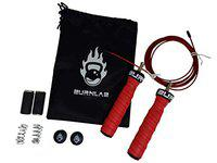 Burnlab Pro Power Skipping Rope - Anti Slip, Adjustable, Ball Bearing Design for Gym, Crossfit, Double Unders, Speed Jumping, Boxing, Cardio and Weight Loss - for Men and Women (Red)