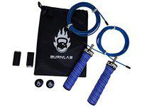 Burnlab Pro Power Plus Skipping Rope - Anti Slip, Adjustable, Ball Bearing Design for Gym, Crossfit, Double Unders, Speed Jumping, Boxing, Cardio and Weight Loss - for Men and Women (Blue)