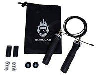Burnlab Pro Power Skipping Rope - Anti Slip, Adjustable, Ball Bearing Design for Gym, Crossfit, Double Unders, Speed Jumping, Boxing, Cardio and Weight Loss - for Men and Women (Black)