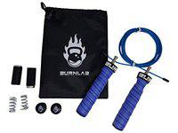Burnlab Pro Power Skipping Rope - Anti Slip, Adjustable, Ball Bearing Design for Gym, Crossfit, Double Unders, Speed Jumping, Boxing, Cardio and Weight Loss - for Men and Women (Blue)