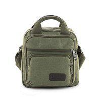 Goatter Unisex Canvas Multi-Compartment 10 Messenger Bag, Color Green (Small)