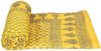 SD Enterprises Rajasthani Traditional Light Weight Pure Cotton Double Bed Soft Gold Block Silk Print Jaipuri AC Quilt / Razai (Size 85 X100 inch) Yellow Color
