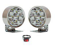 M Mod Con 9 LED 15W Fog Light Silver Pack of 2 with Free Switch