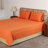 House This Tana Bana Cotton 1 Double Bedcover with Pillow Covers -Rust