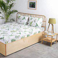 House This Vanam King Bedsheet & 2 Pillow Covers-Green