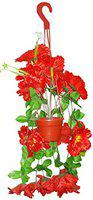 Kotak Sales Artificial Flower And Leaves with Plastic Pot (Red)