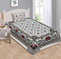 BS EXPORTS 100% Cotton Single Bedsheet with 1 Pillow Cover 144 TC 60x90 inch (Single Bed -60x90, Multi-13)