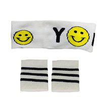 Confidence Soft Fabric Headband with Wristband for Exercise Workout and Gym (Multicolor)