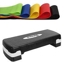 Strauss Aerobic Stepper, (Black/Grey) and Exercise Latex Resistance Bands, (Set of 5)