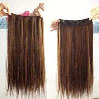 Rapidsflow Imported Quality 5 Clip Hair Extensions For Women Curly Hair 26 Inch 150 gram (Straight Golden highlights)