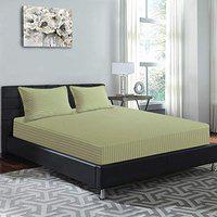 Good Homes Sateen Stripes 300 TC Cotton King Size Bedsheet with 2 Pillow Covers- Green