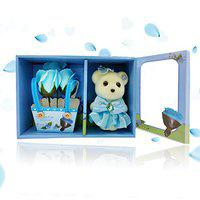 Kids Mandi Artificial Soap Rose Flower And Cute Small Teddy Bear (Blue, 1 Set Of 3 Scented Rose And 1 Small Teddy Bear)