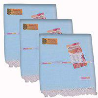EthnicAlive Bhagalpuri Handloom OrgaEthnicAlive Dull, Silky AC Chadar/Blanket Normal Plain Design in Sky Blue Colour Pack of 3 Set (Size 220x125cm)