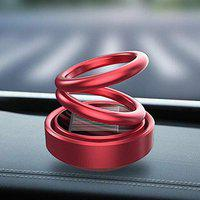 Speedwav Solar Car Fragrance Double Ring Rotating Car Aromatherapy Home Office Air Fresher Decoration Perfume Diffuser (Black) HQMOCB11