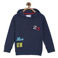 Tales & Stories Boys Blue Cotton Blended Solid Pattern Hooded Sweartshirt - T366901-5-6-BL