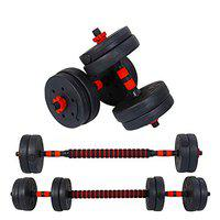 FITSY Adjustable Dumbbell Set - 15 kg PVC Dumbbell and Rod Set for Home Gym Workout with Extension Barbell Rod [AR-2692]