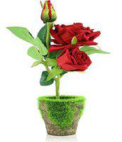 BHAVYATA Artificial Home Office Decor Red Roses Bonsai Flowers with Pot(30cm)