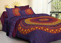 Jaitik Creations 100% Cotton King Size Double Bedsheet Sanganeri Print with 2 Pillow Covers, Purple
