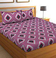 Jaitik Creations 100% Cotton Traditional Rajasthani Jaipuri Print Double Bedsheet with 2 Pillow Covers, JC_0301, Pink