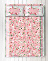 Silverlinen Flowers & Butterflies 100% Cotton 250 TC Double Bedsheet for Kids Room for Girls with Two Pillow Covers - Pink