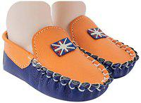 Neska Moda Baby Boys Pack of 1 Pair Orange & Blue Rexine Loafers/Shoes for 6 to 12 Months