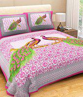 Ashnit Marbal Double Bedsheet Jaipuri Pure Cotton Bed Sheet highlighting Both Tradition and Modern Dcor Pink