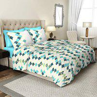 Cannon Abstruce Teal Abstract King Size Double Bedsheet with 2 Pillow Cover Set (DSN-01)