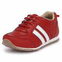 Tuskey Boys Genuine Leather Jogger Shoe (584-red_12, Red, 12 UK)