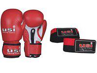 USI Amateur Leather Boxing Gloves with Hand Wrap Pair for Hard Punch Bagwork (10OZ, RED)