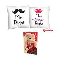 Archies Love Valentines Printed Cushion 12X12 with Filler & Beautiful Greeting Card, Now Impress Your Love with Premium Gifts (Mr Right Mrs Always Right)