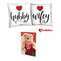 Archies Love Valentines Printed Cushion 12X12 with Filler & Beautiful Greeting Card, Now Impress Your Love with Premium Gifts (Hubby Wifey)