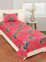 RD TREND Single Bedsheet(Size-60 X 90) with 1 Pillow Cover(Size-18 X 28) Green (Pink, Single)