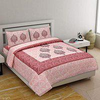 Ashnit Alexa Double Bedsheet Jaipuri Pure Cotton Bed Sheet highlighting Both Tradition and Modern Dcor Pink