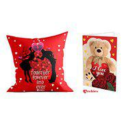 Archies Love Valentines Printed Ceramic Coffee Mug 350 ml Microwave Safe with Beautiful Greeting Card, Now Impress Your Love with Premium Gifts (Together Forever and Ever) (Cushion+Card)