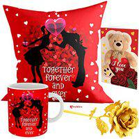 Archies Love Valentines Printed Ceramic Coffee Mug 350 ml Microwave Safe with Beautiful Greeting Card, Now Impress Your Love with Premium Gifts (Together Forever and Ever) (Mug+Card+Cushion+Rose)