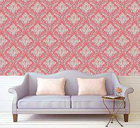 Eurotex Damask Design Wallpaper 17.71 X 236 Self-Adhesive Removable Peel and Stick Decorative Wall Covering (PVC, Size 45cm X 6Mtr Roll 29 Sqft, Red Color)