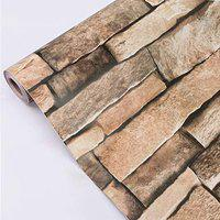 Eurotex Stone Design Wallpaper 17.71 X 236 Self-Adhesive Removable Peel and Stick Decorative Wall Covering (PVC, Size 45cm X 6Mtr Roll 29 Sqft, Brown Brick Color)