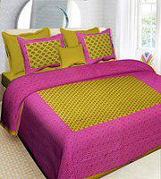 RajasthaniKart Cotton 144 TC Bedsheet (Double_Pink)